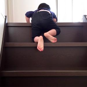 ダウン症児の成長日記 階段をよじ登る