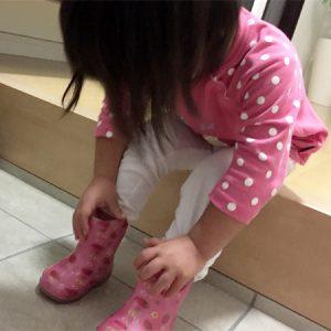 ダウン症児の成長日記 長靴