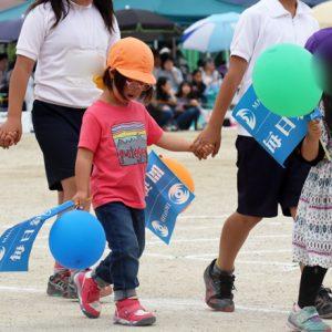 ダウン症児の成長日記 小学校運動会 来入児参加