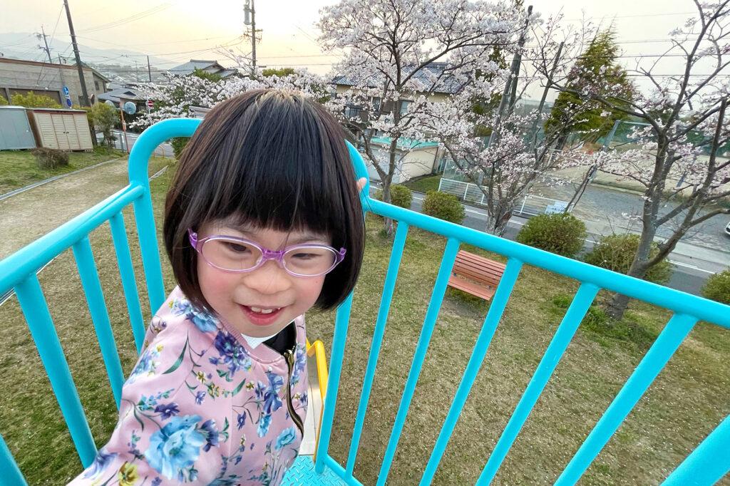ダウン症児の成長日記 公園のすべり台の上
